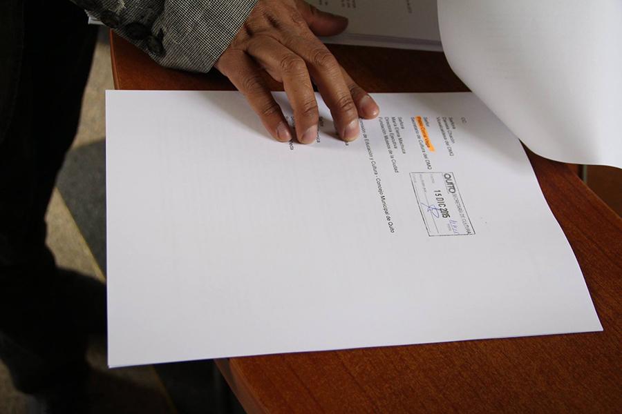 Firma de recibidos en las cartas del alcalde del DMQ