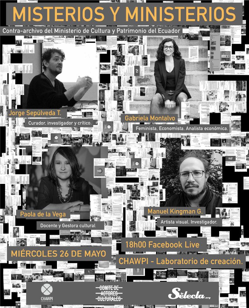Misterios y Ministerios Contra archivo del Ministerio de Cultura y Patrimonio del Ecuador . Invitación al conversatorio.